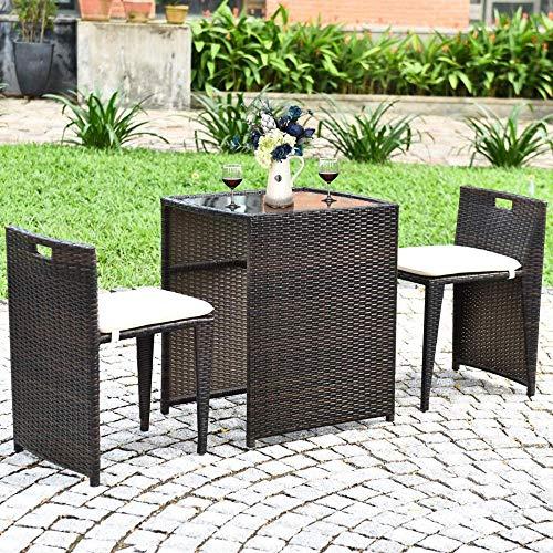 YRRA 3 stücke Outdoor Rattan Essning Set Patio Konversation Set Bistro Set mit gehärtetem Glastisch Terrasse Wicker Stuhl Möbel Set mit Kissen (Braun)
