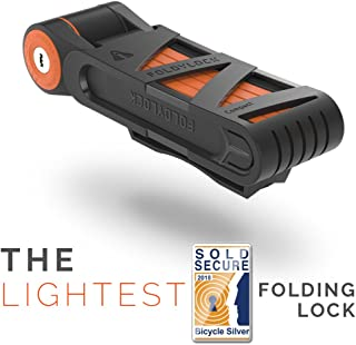 FOLDYLOCK Compact Bike Lock | Extreme Bike Lock - Heavy Duty Bicycle Security Chain Lock Steel Bars| Carrying Case Included| Unfolds to 85cm / 33.5"