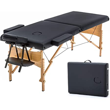 Massage Table Portable Massage Bed Spa Bed 73 Inches Long 28 Inchs Wide Hight Adjustable Massage Table 2 Folding Massage Bed Spa Bed Facial Cradle Salon Bed W/Carry Case