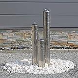 Edelstahl Springbrunnen poliert ESB1 mit 3 Säulen 65cm Säulenbrunnen für Außenbereich Garten