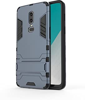 Oneplus 6 Case, Lrker Full Protection Super Hard PC Armor Shell Soft TPU Inside Hybrid Dual Layer with Kickstand Fall Proof Prevent Drop for Oneplus 6, Grayblue