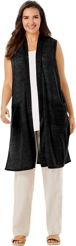 Woman Within Women's Plus Size Lightweight Linen Vest