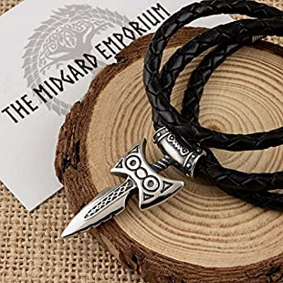 Customer reviews Skyrim Amulet of Talos Viking Sword Stainless Steel Pendant With Handmade Real Leather Necklace