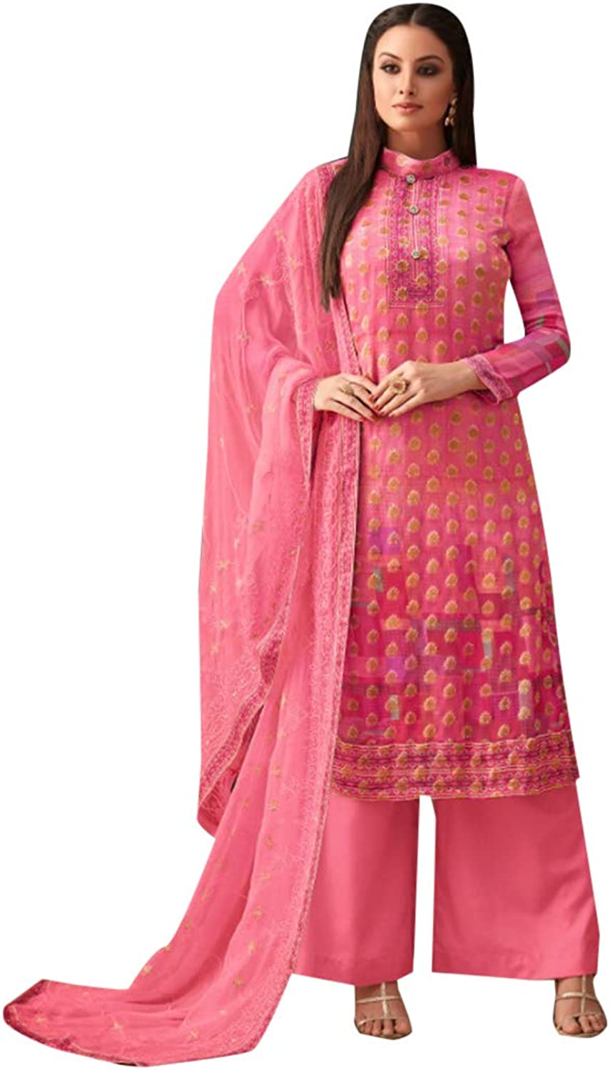 Festive Straight Pink Salwar Kameez Bright Suit Palazzo Style Indian Ethnic Wear 7397