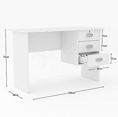 Vida Designs Charles Bureau d'ordinateur avec 3 tiroirs, Table de Bureau pour Ordinateur Portable, Station de Travail avec Rangement, Meuble, Blanc, 75 x 120 x 48 cm