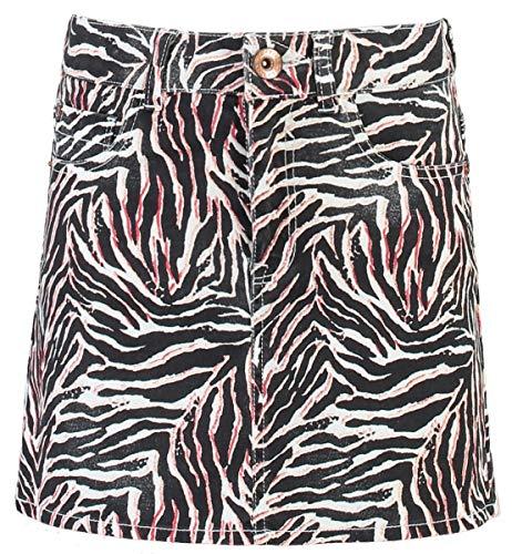 Gacia Kids Mädchen weißer Jeans Rock mit Alloverprint, Farbe:Off White 53, Größe:158