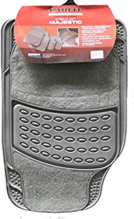 Carfit 4578045 Majestic Carpet and Rubber Car Floor Mat 4 Piece Set, Grey, Set of 2