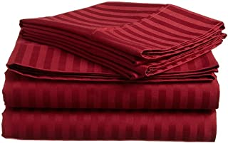 Aashi Rainwear Bed Sheet Set - 100% Long Staple Cotton King Size Burgundy Stripe (15 Inch Drop)