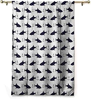Thermal Insulated Blackout Window Curtain Anchor,Aquatic Pattern with Sharks and Anchors Contemporary Classical Modern Fish Animal,Indigo White,36
