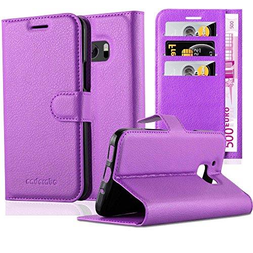 Cadorabo Hülle für HTC ONE M10 in Mangan VIOLETT - Handyhülle mit Magnetverschluss, Standfunktion & Kartenfach - Hülle Cover Schutzhülle Etui Tasche Book Klapp Style