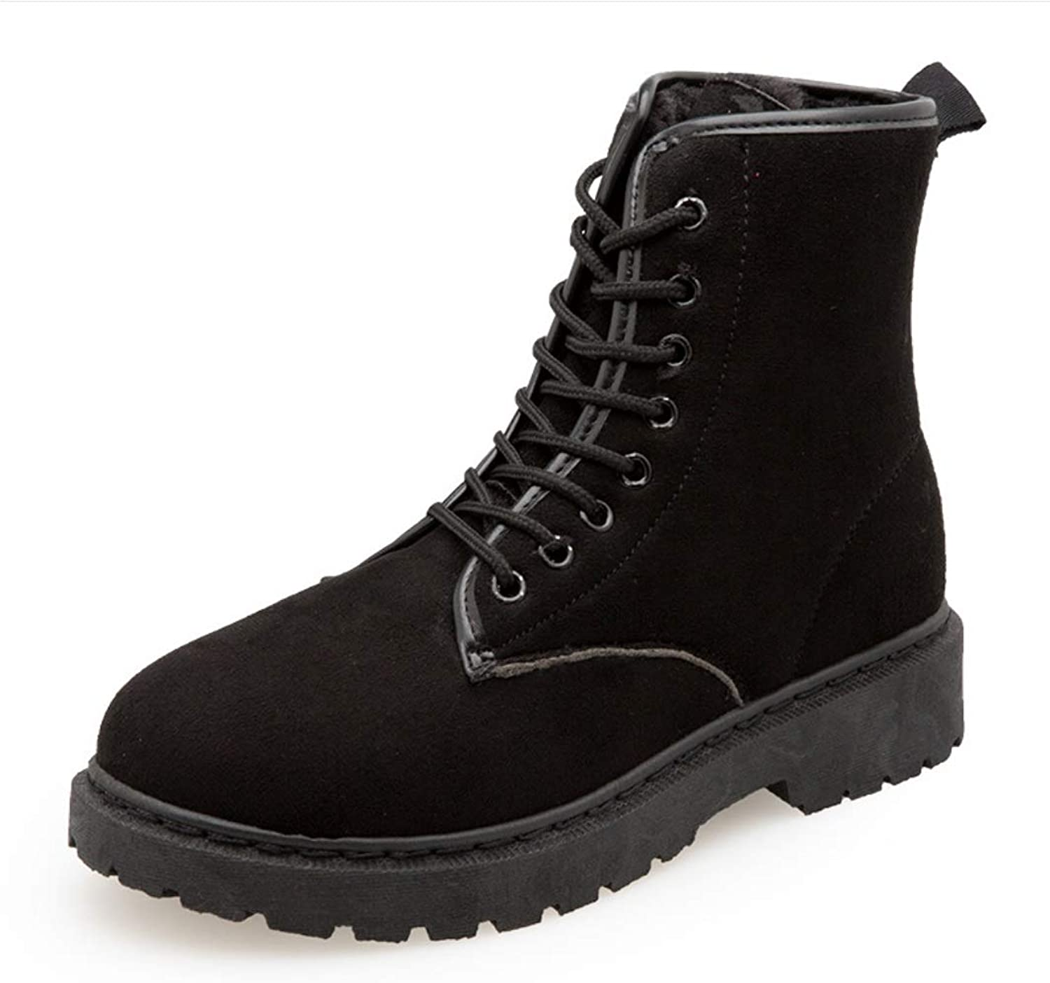 Womens Winter Flat Ankle Boots Trainer Lace Up Casual Boots Fur Lined Grip Sole Army Combat Boots shoes Size Comfortable Keep Warm