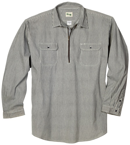 Key Industries Men's Big and Tall & Tall Long Sleeve Zip Front Logger Shirt, Firm Hand Hickory Stripe, Large/Tall