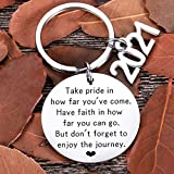 "☻ Gifts for Class of 2021or Senior Students--"" Take Pride in how far you've come. Have faith in how far you can go. But don't forget to enjoy the journey"" keychain . Inspirational gifts for graduates students who're about to begin a new journey of li..."