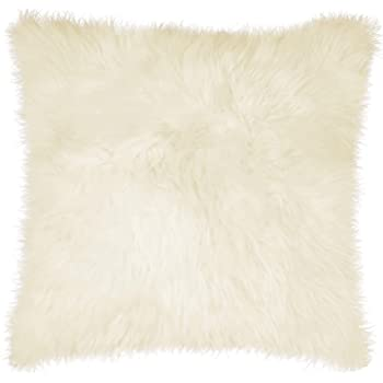 Natural Lush & Thick Pile Polyfil Insert Zipper Closure Genuine New Zealand Sheepskin Wool Fur Pillow, Natural, 18 in x 18 in