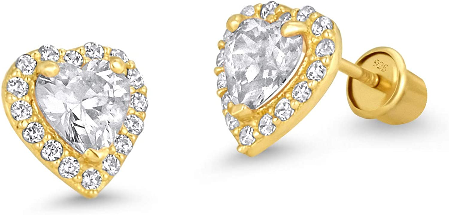 14k Gold Plated Brass Heart 67% Award OFF of fixed price Children with Screwback Earrings Ste
