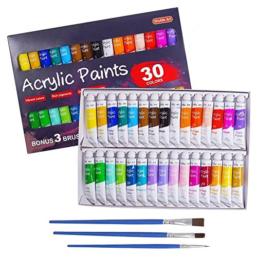 Acrylic Paint Set, Shuttle Art 30 x12ml Tubes Artist Quality Non Toxic Rich Pigments Colors Great for Kids Adults Professional Painting on Canvas Wood Clay Fabric Ceramic Crafts