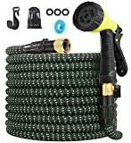 Garden Hose Expandable Hose - Heavy Duty Flexible Leakproof Hose-10-Pattern High-Pressure Water Spray Nozzle & Bag & Plastic Holder.No Kink Tangle-Free Pocket Water Hose (100FT)