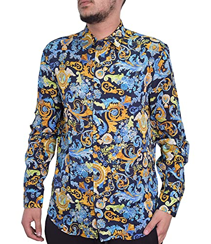 VERSACE JEANS COUTURE Camicia floreale in Navy & Gold Multi 54