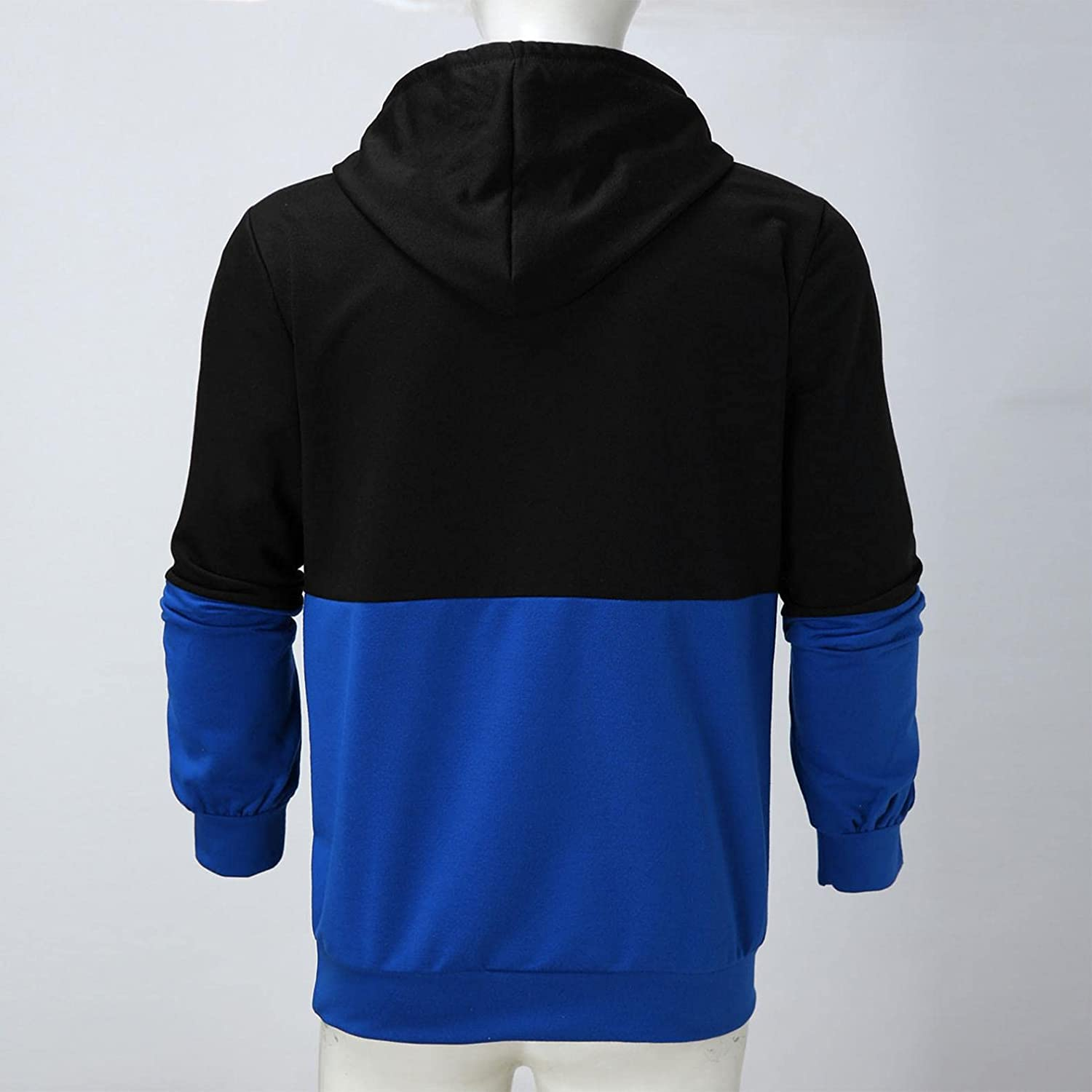 Hoodies for Men Fashion Pullover Color Splice Warm T-Shirts Patchwork Quick Dry Blend Fleece Kanga Pocket Mens Hoodies
