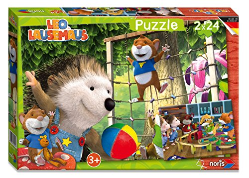 Noris Spiele 606038052 - Leo Lausemaus Puzzle , 2 x 24 Teile