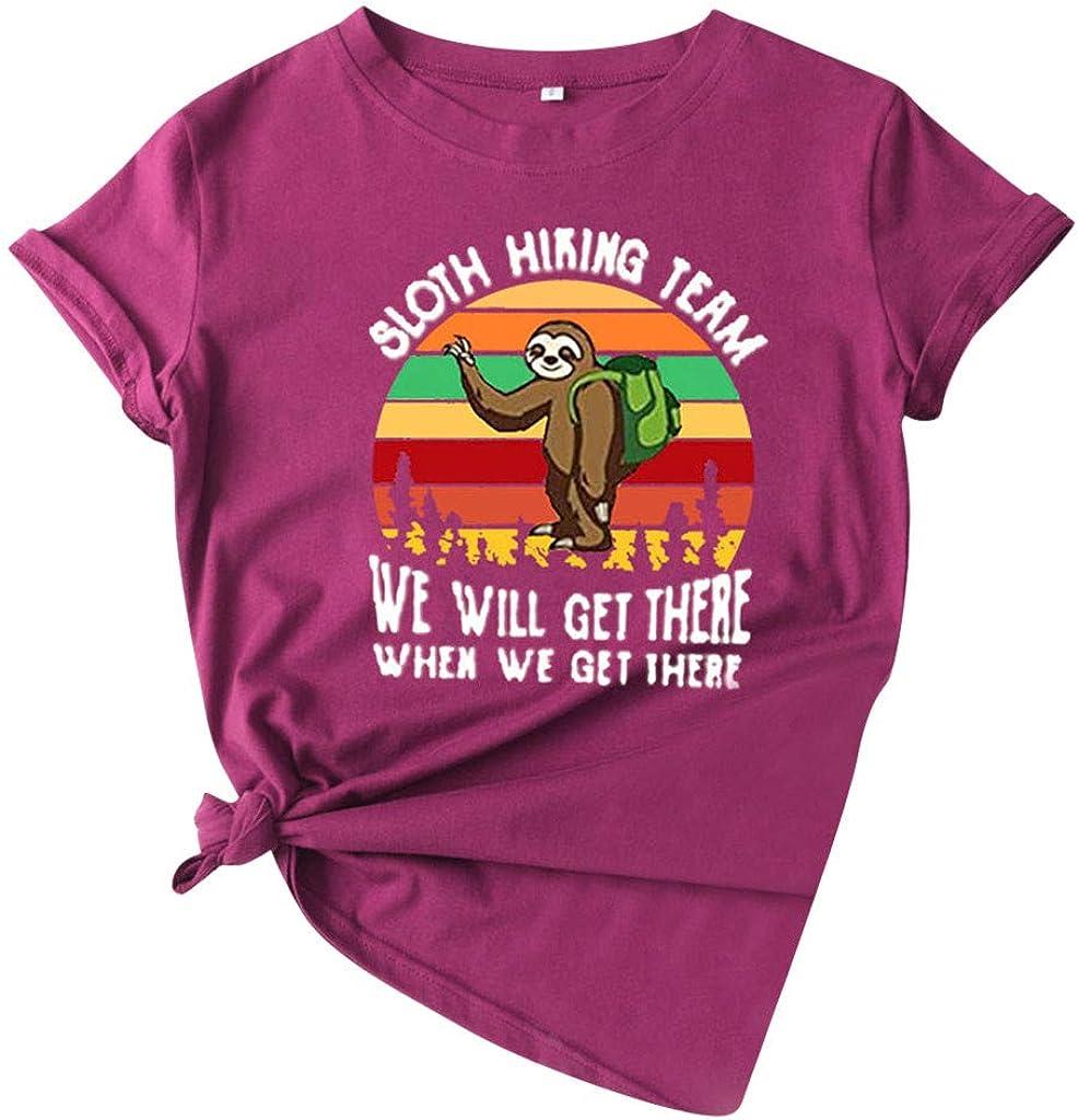 Womens Funny Graphic Tees Shirts, Sloth Hiking Team Printed Short-Sleeve Tees Summer Junior Tee Shirts Tops