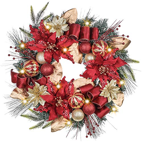 Valery Madelyn Pre-Lit 24 Inch Luxury Red Gold Christmas Front Door Wreath with Artificial Greenery Spruce, Eucalypti Leaves, Ball Ornaments and Flowers, Battery Operated 20 LED Lights