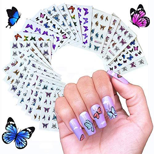 48× Mariposa Pegatina de Uñas,3D Nail Art Stickers Calcomanías, Pegatinas Uñas Decorativas, 3D Pegatina Calcomanías Autoadhesiva de Uñas Tatuaje para Mujer Manicura Bricolaje, Decoración Arte de Uñas