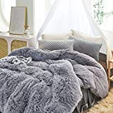 Uozzi Bedding Luxury Plush Shaggy Flannel 3 PC Duvet Cover Set (1 Faux Fur Duvet Cover + 2 Quilted Pillow Shams) Solid,No Inside Filler,Zipper Closure Warm and Soft for Winter (Gray, King)
