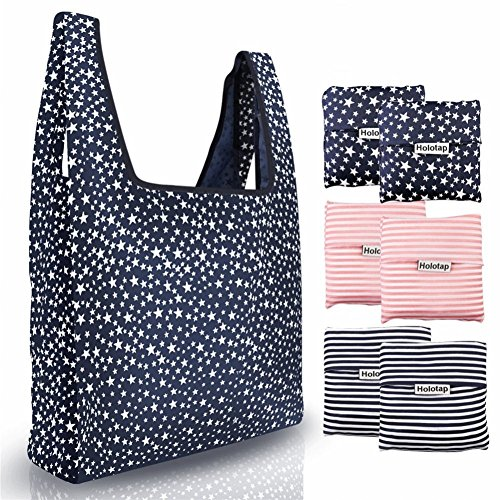 Reusable Grocery Bags 6 Pack Heavy Duty Folding Shopping Tote Bag by Holotap Washable, Durable, Lightweight and Waterproof Nylon Reusable Shopping Bags (Starry sky, Stripe)