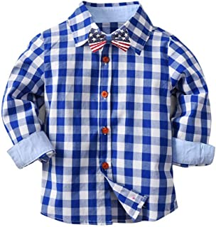 Winsummer Little Boys' Gentleman USA Flag Bowtie Shirts Long Sleeve Button Down Plaid Flannel Shirt Tops Blouse