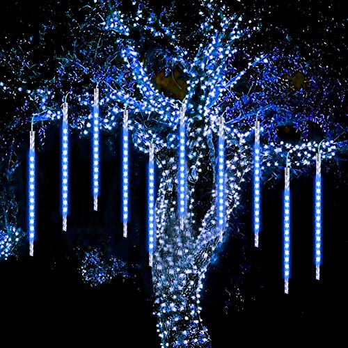 Meteor Lights, WASAGA Luci da pioggia a LED 20 tubi 960 LED (confezione da 2) 50cm Luci di caduta per ghiaccioli di Natale Luci da neve per Natale Festa di nozze Urban New Year Garden Tree Home Decor