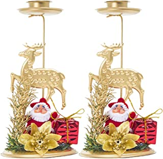 NUOBESTY Juego de 2 Velas de Navidad con Adornos de Velas de Alce para Decoraciones de Mesa de Comedor