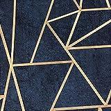DUTCH WALLCOVERINGS Papel Pintado Triángulos Azul Petróleo y Dorado Casa Hogar