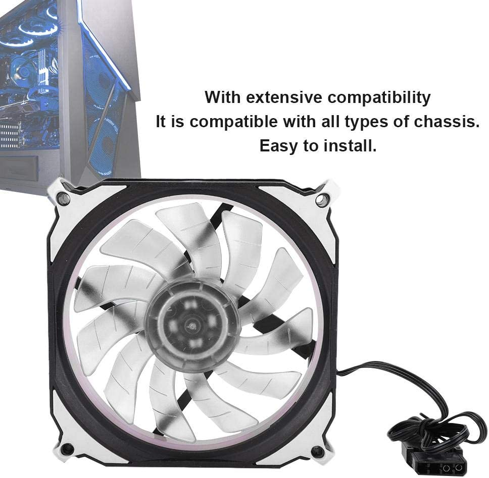 Quiet Wendry Computer Case Cooler,2PCs 12V Computer Case Aperture Cooling Fan,with Oil Bearing and 8 Damping Feet,with Good Temperature Control Effect White