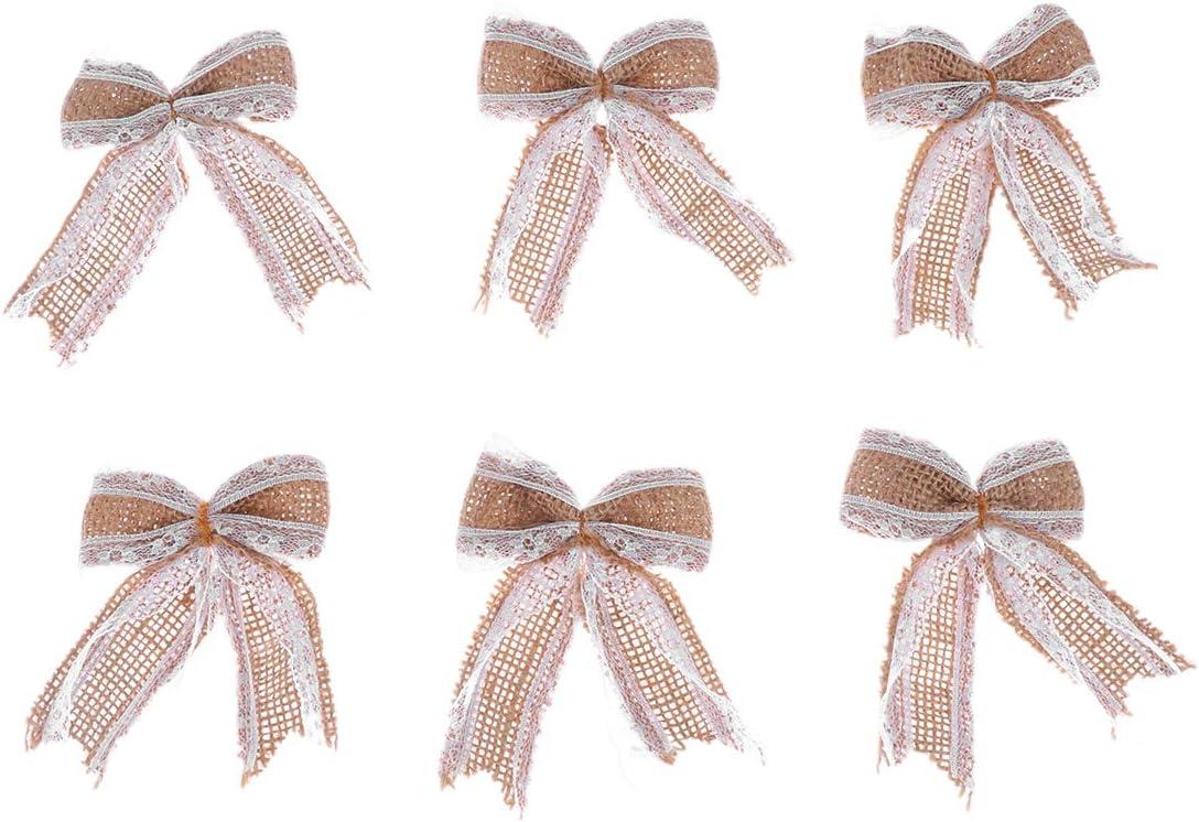Sales Max 66% OFF Healifty 6PCS Burlap Lace Bowknot Bows Set Jute Embellishmen DIY