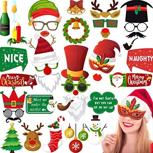 Christmas Photo Booth Props 46 Pcs, Christmas Party Decorations - Christmas Photo Props, Selfie Christmas Props for Adults Kids, Christmas Game, Photo Booth Kit, Friends Photo Booth Props Funny