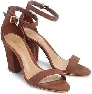 Schutz Women's Jenny-lee Rust Brown Mid-Block Heel Strappy City Sandal