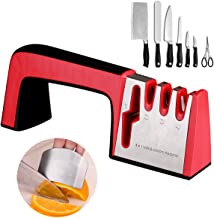 ELIATER Knife Sharpener, 4 in 1 Professional Kitchen Knife Sharpener and Scissors Sharpener for Kinds of Knives, Finger Guard Knife Cutting Protector Included, Easy to Use