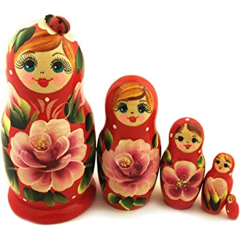 Purple Cute Matreshka MATRYOSHKA 5 Nesting Doll Floral Lady Bug RUSSIAN Gift