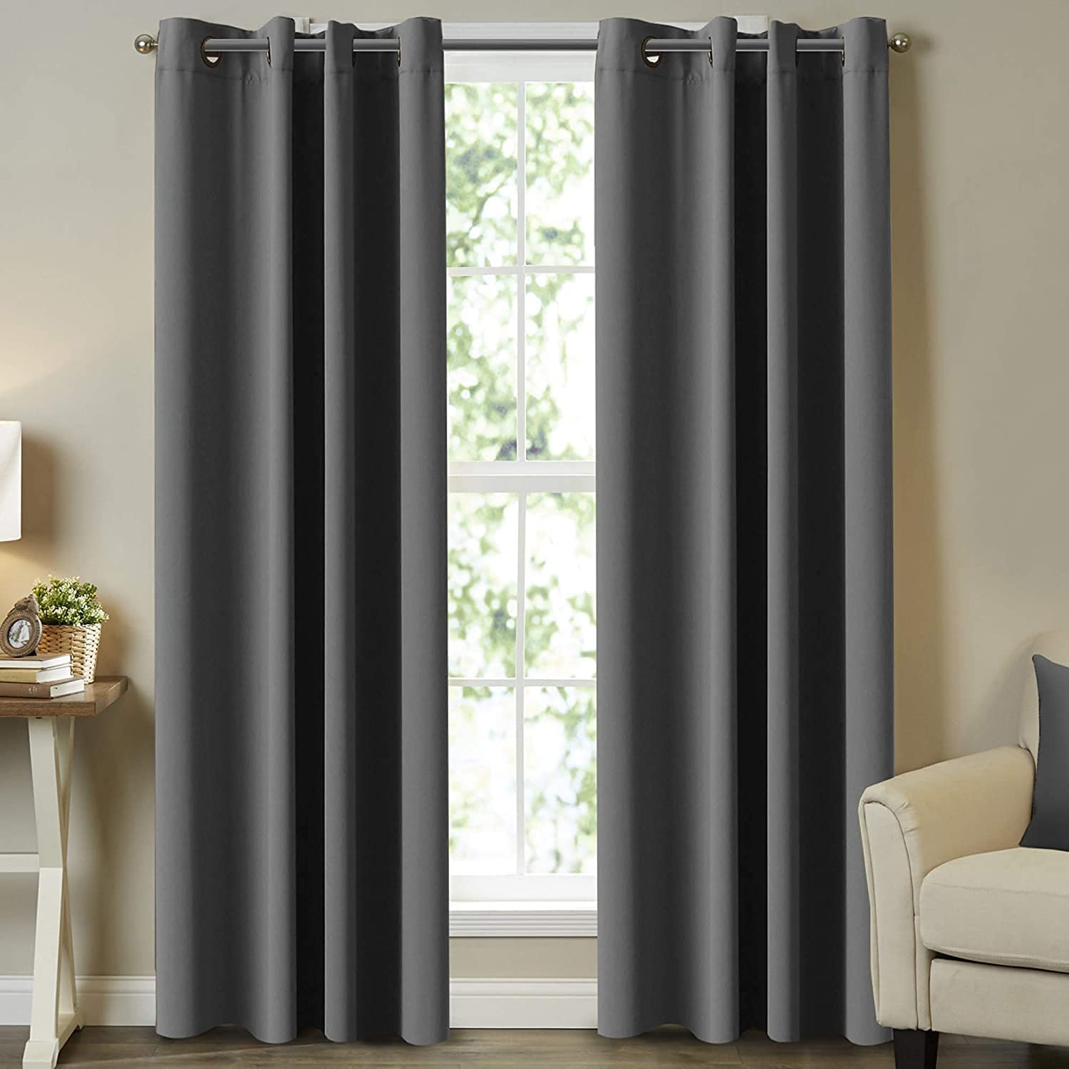 Thermal Insulating Blackout Grommet Fresno Mall Top Ultra Regular store Blac Curtains Soft