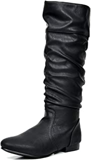 black flat slouch knee high boots