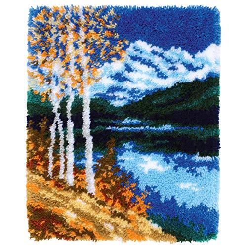 Vervaco PN-0172585 Herbstlandschaft Knüpfpackung Teppich, Baumwolle, mehrfarbig, ca. 44 x 55 cm / 17,6