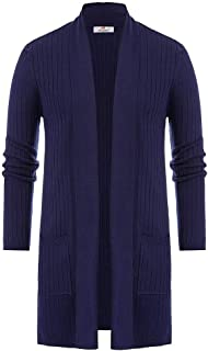 PJ PAUL JONES Mens Concave Knit Shawl Collar Side Pocket Long Cardigan Sweater