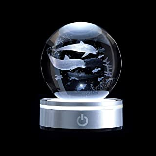 Sponsored Ad - BIANROCO Dolphin 3D Crystal Ball Laser Engraved with Colourful LED Lighting Base, in Home and Office Gift f...