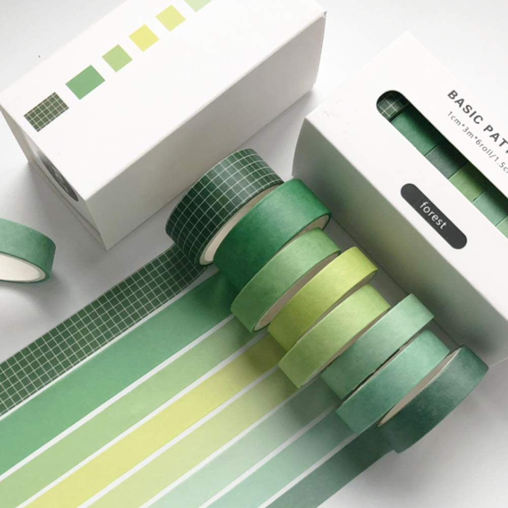 Sopcone 8 Rolls with 2 Sizes Washi Tape Sale Special Price Deco Japanese Green Set Free Shipping Cheap Bargain Gift