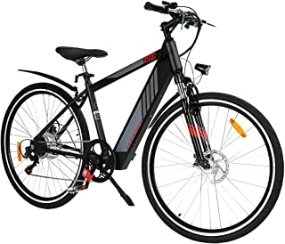 "Phoenix Electric Bike 27"" Trekking City eBike 110KG Capacity Electrical Adult Bicycle eMTB Mountain Grey Led Headlight"