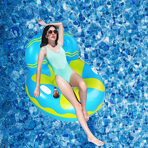Owntop Inflatable Swimming Pool Float for Adult - Pool Lounge Chair, Swimming Pool Floaties Lounge Raft for Kids with Cup Holders and Head Rest