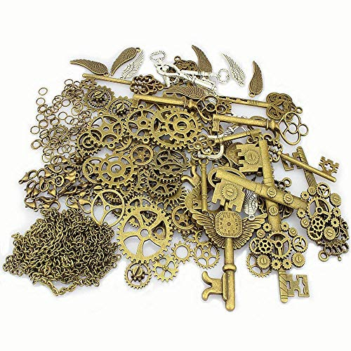 Steampunk charm necklace DIY kit includes 50 vintage bronze steampunk gears with assorted size, 18 skeleton keys with bronze and silver mixed colors, 10 Wings with mixed colors, 2 yards of bronze chains, 200 jump rings and 20 lobster clasps Skeleton ...