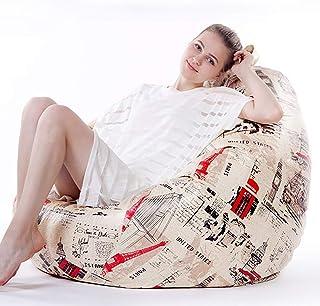 Fohee Puffs pera Sillas, Cuero de Microfibra beanbag sofá Perezoso Tatami Extra Grande reclinable Suelo del Dormitorio, Salón de Interior Muebles de recreación (100 * 120cm),London