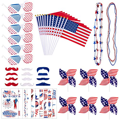 Whaline 54Pcs 4th of July Party Accessories Patriotic Shutter Shade Sunglasses Bead Necklace USA America Flag Red Whit Blue Mustaches Temporary Tattoo Windmill for Independence Day Party Supplies